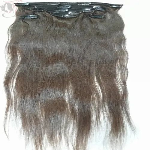 RVHHE Natural Indian Remy Human Clip Hair Extension, Pack Size: 10' -30' , for RESELL