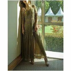 Polyester And Net Party Wear Olive Green Embellished Designer Dress