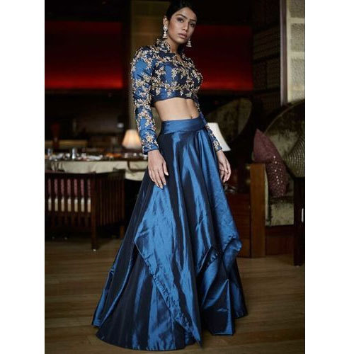 e25370a5c5c9ae Ladies Tafetta Silk Navy Blue Indo-Western Crop Top Lehenga Choli ...