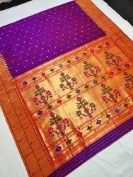 Paithani Pure Silk Handloom Muniya Border Saree