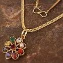 Designer Party Wear Synthetic Navratan Gold Plated Pendant