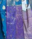 Blue Cotton Blend Resham Zari Work Banarasi Saree
