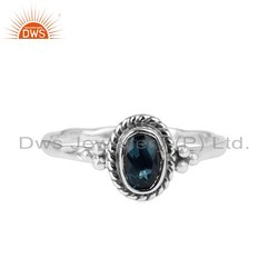 Oxidized Sterling Silver Blue Topaz Gemstone Ring Jewelry