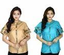Womens Tassar Silk Top Sky Blue And Brown Pack of 2