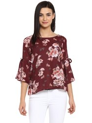 Formal Wear 3/4th Sleeves Fashionable Women's Crepe Top