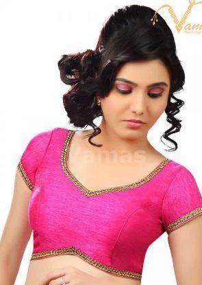 09f0fb4516240 Vamas Pink Dupion Silk Back Open Blouse X-203 Pink