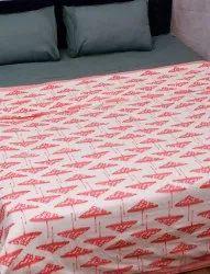 Pink Umbrella Hand Block Printed Design Cotton Pure White Dohar