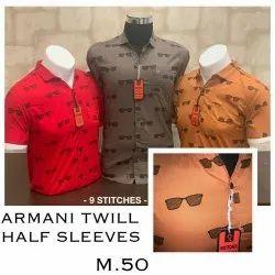 Fusion Half Sleeve Men Armani Twill Printed Shirt