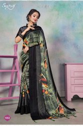 Party Wear Designer Printed Saree With Swarovski Work