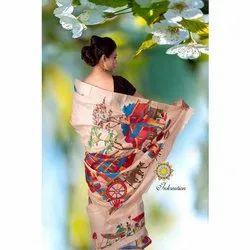 Inkreation Ladies Kantha Stitch Tussar Silk Saree With Blouse Piece