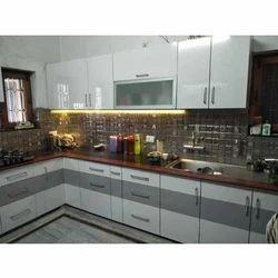 Wooden L Shape Acrylic Modular Kitchen Designing Service, Warranty: 1-5 Years