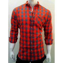 Mens Slim Fit Cotton Check Shirt, Packaging Type: Plastic Bag