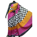 Multicolor Silk Hand Block Printed Saree