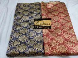Satkaar Embroidered Silk Brocade Fabric, Packaging Type: Poly Bag