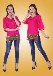 Regular 3/4th Sleeve Cotton Rajasthani Kurtis