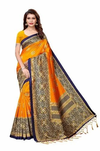 Festive Wear Printed Trendy Mysore Silk Saree, 6.3 m (with blouse piece)
