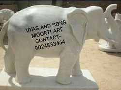 White Stone Elephant Statue