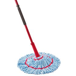 Synthetic Cloth Red, Blue and Black Hand Operated Plastic Mop