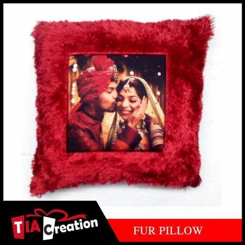 Fur Red Plain Sublimation Cushion