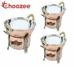Choozee -Steel Copper Food Warmer with Kadhai Set of 3 Pcs (400ML, 600ML and 800ML)