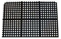 Restaurant Mat Inter Connecting Anti slip Holes 'O' Mats - 2 Ft X 3 Ft (Black)