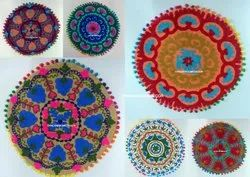 Handmade Embroidered Round Cushion Cover