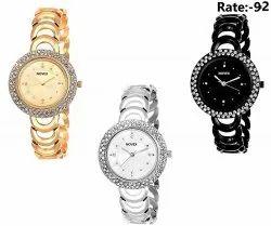 NOVEX Diamond Round Shape Analog Watch for Girl''s & Women