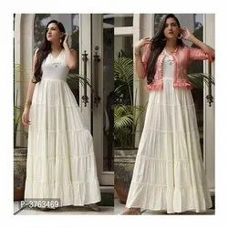 Party Wear Embroidered Ladies Rayon Long Gown, Size: M-xxl
