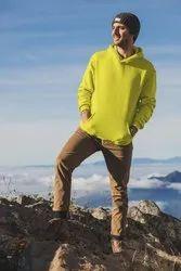 Men's Yellow Pullover Eco Smart Fleece Hooded Sweatshirt