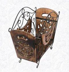 Brown Wood+Iron Magazine Basket, Size: 14X12X8