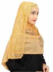 Women Hosiery Cotton lace Work Scarf Hijab Stoles