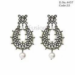 Victorian Finish Designer Kundan Chandbali Earrings