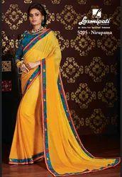 Laxmipati Yellow Chiffon Saree CHITRAVALI 5205