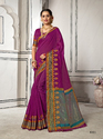 Impressive Magenta Colored Party Wear Chanderi Cotton Saree with Blouse Piece