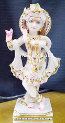 Marble Krishna Standing Statue