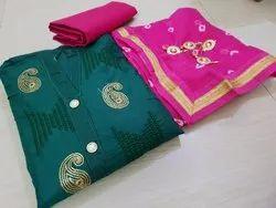 Churidar Female Designer Embroidered Dress Material