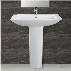White Ceramic Pedestal Wash Basin, For Bathroom