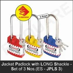 E-Square Safety Lockout Jacket Padlock With Long Shackle - Set of 3, Packaging Size: <10 Piece