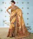 Formal Wear Shree Exports Orange Pure Banarasi Silk Printed Saree, With Blouse Piece