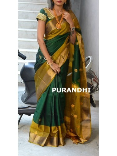 508661036f82f6 Bottle Green Uppada Pattu Saree With Butis at Rs 5300
