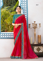 Pink & Red Georgette Party Wear Saree