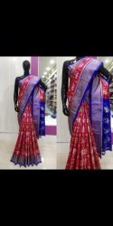 Party Wear Blue and Red Kanchpatti Ikkat Silk Saree with Blouse Piece