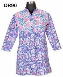 10 Cotton Hand Block Print Women's Frock Long Kurti DR90