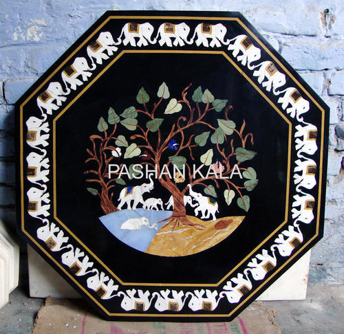 Octagonal Table Tops Black Marble Inlay Table Tops