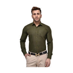 Pure Cotton Regular Fit Mens Olive Green Plain Shirt, Size: Small, Medium, Large, XL, XXL