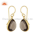 Designer Gold Plated 925 Silver Smoky Quartz Gemstone Hook Earrings