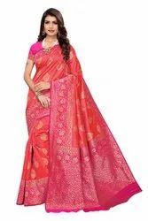Pink Colored Banarasi Silk Saree with Blouse Piece