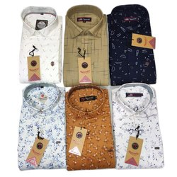 Recent X Casual Wear Men Printed Cotton Shirt, Size: M-XXL