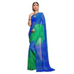Blue-Green Bandhani Saree