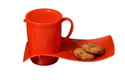 Mehul Crockery Plastic Coffee Mug with Trey Set (red)